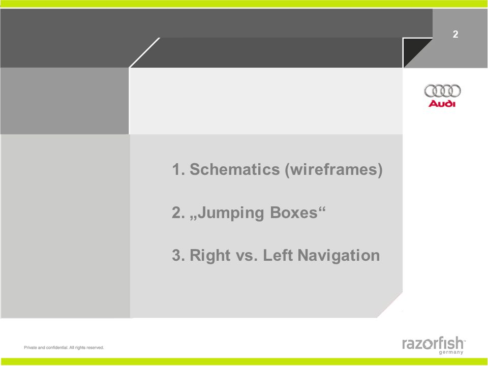 12 1. Schematics (wireframes) 2. Jumping Boxes 3. Right vs. Left Navigation