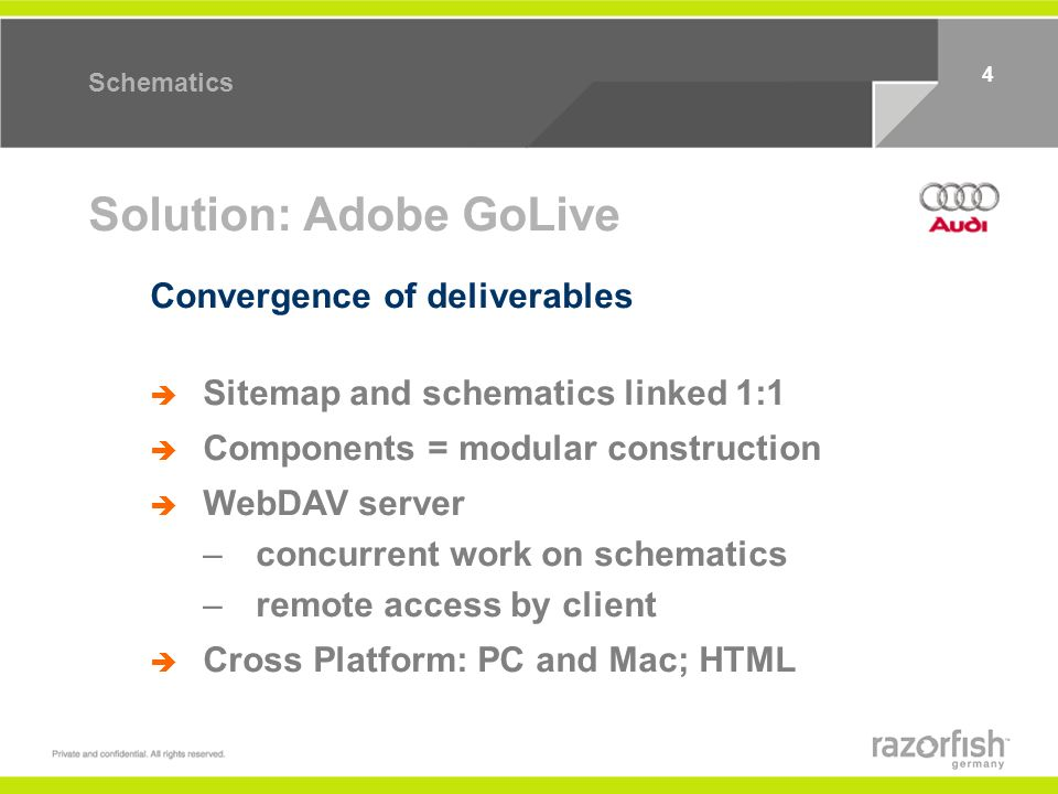 4 Schematics Solution: Adobe GoLive Sitemap and schematics linked 1:1 Components = modular construction WebDAV server –concurrent work on schematics –remote access by client Cross Platform: PC and Mac; HTML Convergence of deliverables