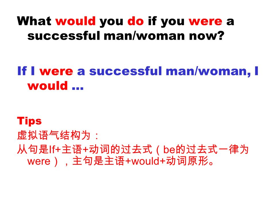 What would you do if you were a successful man/woman now? If I were a successful man/woman, I would … Tips If+ + be were +would+