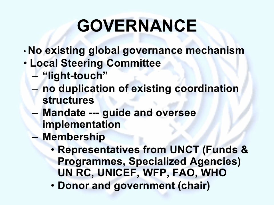GOVERNANCE No existing global governance mechanism Local Steering Committee –light-touch –no duplication of existing coordination structures –Mandate --- guide and oversee implementation –Membership Representatives from UNCT (Funds & Programmes, Specialized Agencies) UN RC, UNICEF, WFP, FAO, WHO Donor and government (chair)