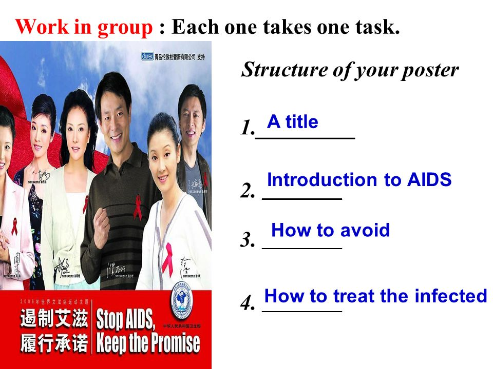 Structure of your poster Work in group : Each one takes one task.