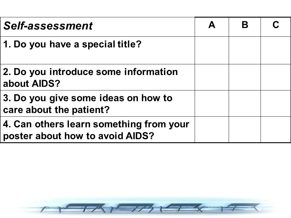 Self-assessment ABC 1. Do you have a special title? 2. Do you introduce some information about AIDS? 3. Do you give some ideas on how to care about th