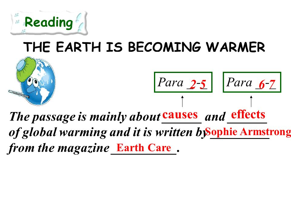 Para _ -_ THE EARTH IS BECOMING WARMER – BUT DOES IT MATTER? Reading The passage is mainly about ______ and ______ of global warming and it is written