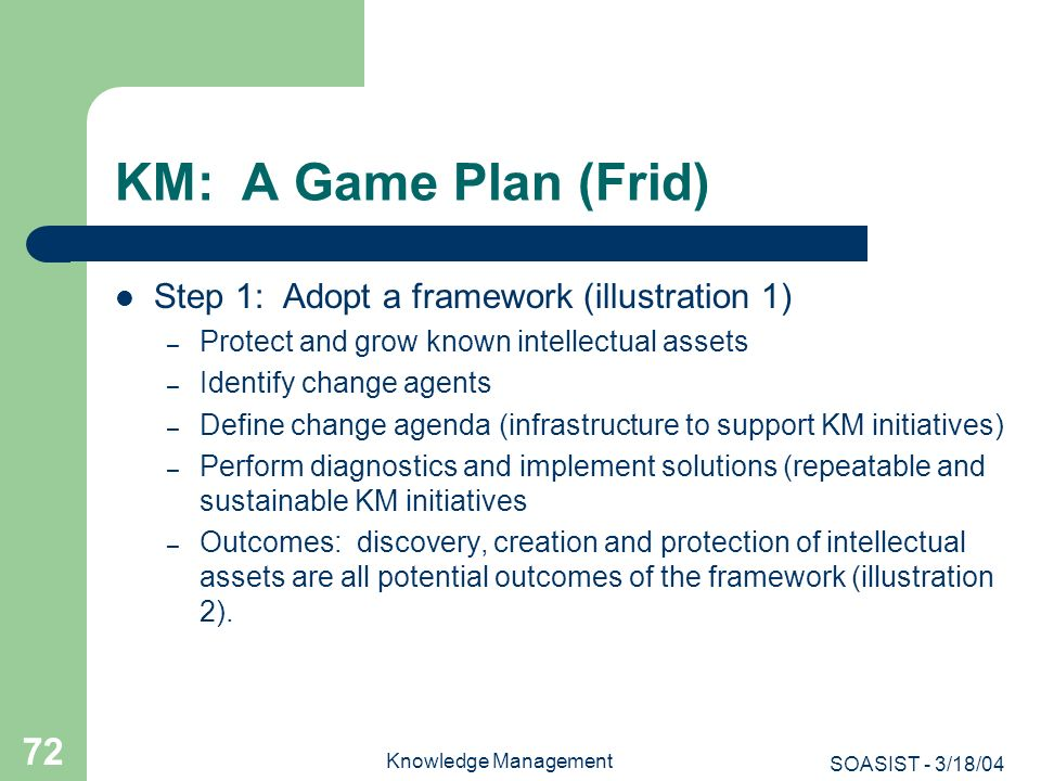 SOASIST - 3/18/04 Knowledge Management 72 KM: A Game Plan (Frid) Step 1: Adopt a framework (illustration 1) – Protect and grow known intellectual asse