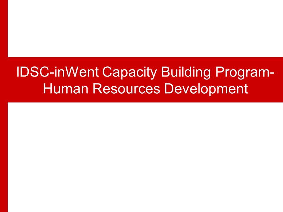 IDSC… Successful Model for an Egyptian Think Tank IDSC-inWent Capacity Building Program- Human Resources Development