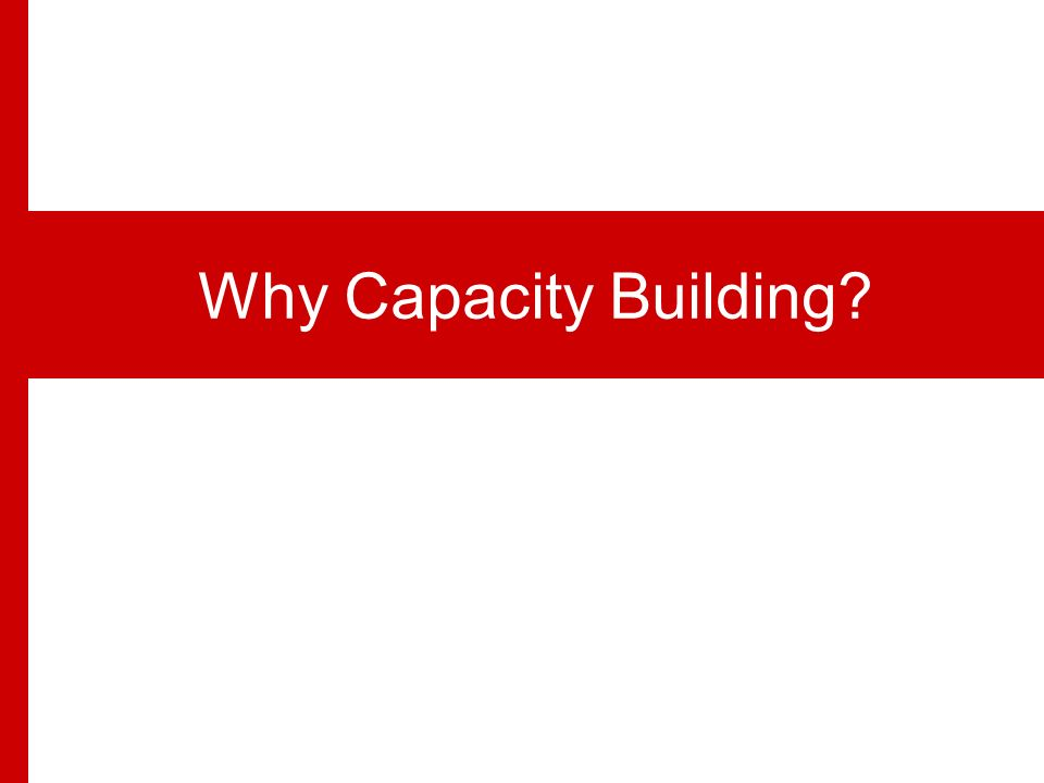 Capacity building is defined as the process of developing and strengthening the skills, instincts, abilities, processes and resources that organizations and communities need to survive, adapt, and thrive in the fast- changing world. Definition Ann Philbin Capacity Building in Social Justice Organizations-Ford Foundation, 1996