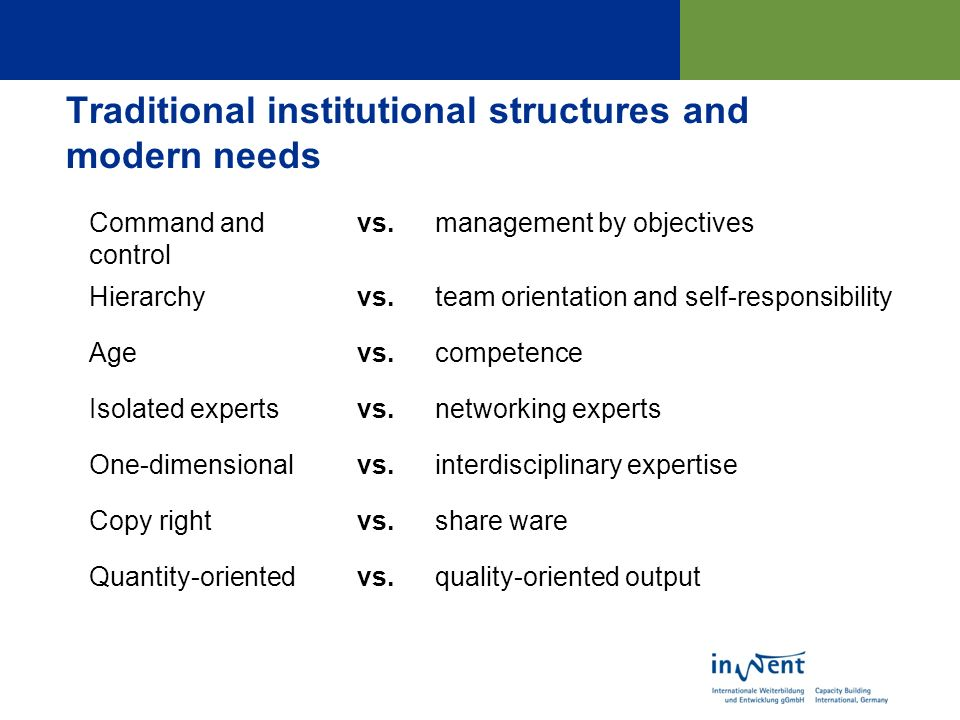Traditional institutional structures and modern needs Command and control vs.management by objectives Hierarchyvs.team orientation and self-responsibility Agevs.competence Isolated expertsvs.networking experts One-dimensionalvs.interdisciplinary expertise Copy rightvs.share ware Quantity-orientedvs.quality-oriented output