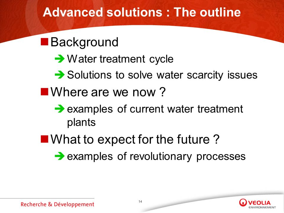 14 Advanced solutions : The outline Background Water treatment cycle Solutions to solve water scarcity issues Where are we now ? examples of current w