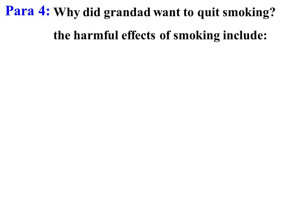 Para 4: Why did grandad want to quit smoking? the harmful effects of smoking include: