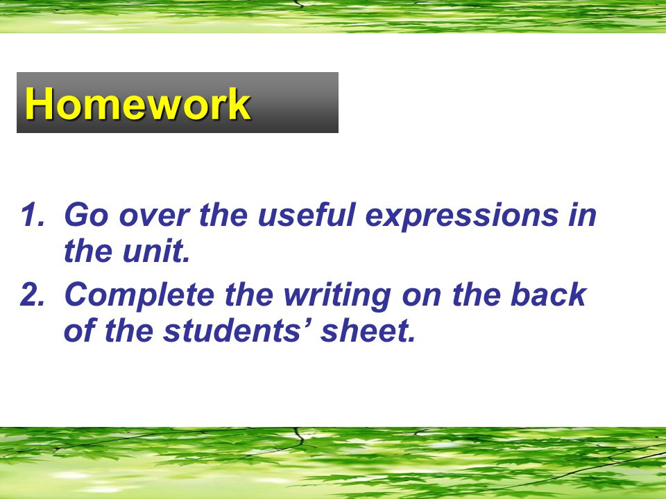 Homework 1.Go over the useful expressions in the unit.
