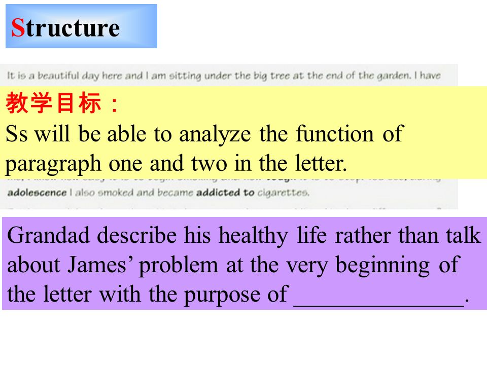 Structure Ss will be able to analyze the function of paragraph one and two in the letter. Grandad describe his healthy life rather than talk about Jam