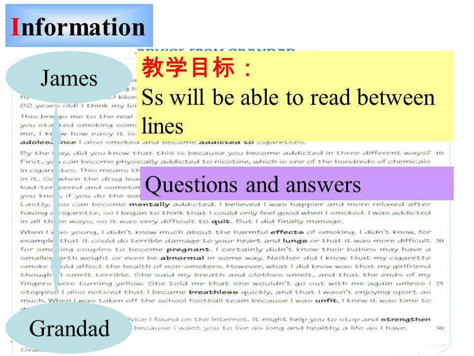 Information James Grandad Ss will be able to read between lines Questions and answers