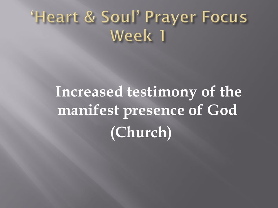 Increased testimony of the manifest presence of God (Church)