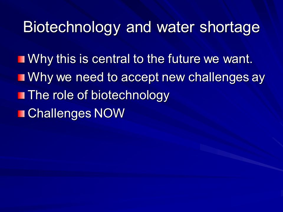 The New Waste Water World –Technologies that create cascading use – clean water for drinking and personal use, cascading down to grey water which can be cleaned enough for agricultural, urban, and industrial use which can be cleaned enough for recycling or environmental recharge etc Sewage, either harvested for energy and/or nutrients then cleaned enough for agricultural or environmental use.