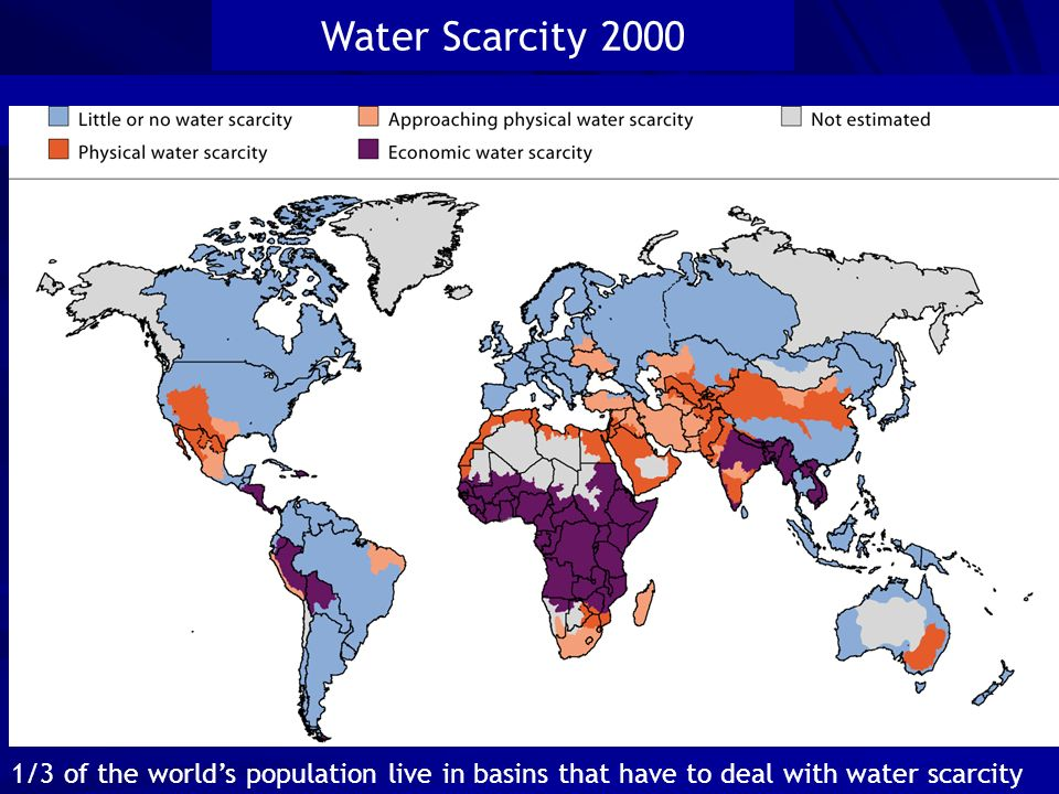 . Source: UN, Water a shared responsibility, New York 2006 Regions where water withdrawals are exceeding natural supply