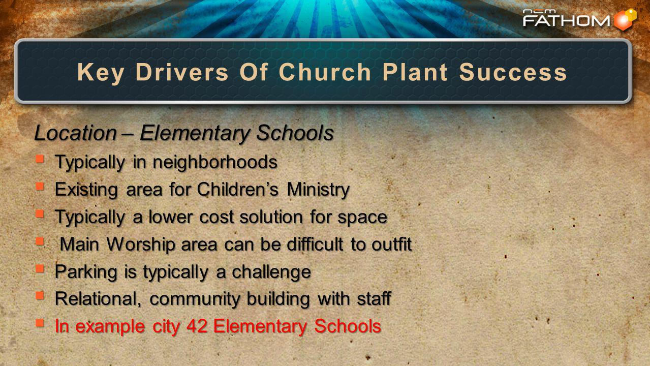 Key Drivers Of Church Plant Success Location – Elementary Schools Typically in neighborhoods Typically in neighborhoods Existing area for Childrens Ministry Existing area for Childrens Ministry Typically a lower cost solution for space Typically a lower cost solution for space Main Worship area can be difficult to outfit Main Worship area can be difficult to outfit Parking is typically a challenge Parking is typically a challenge Relational, community building with staff Relational, community building with staff In example city 42 Elementary Schools In example city 42 Elementary Schools