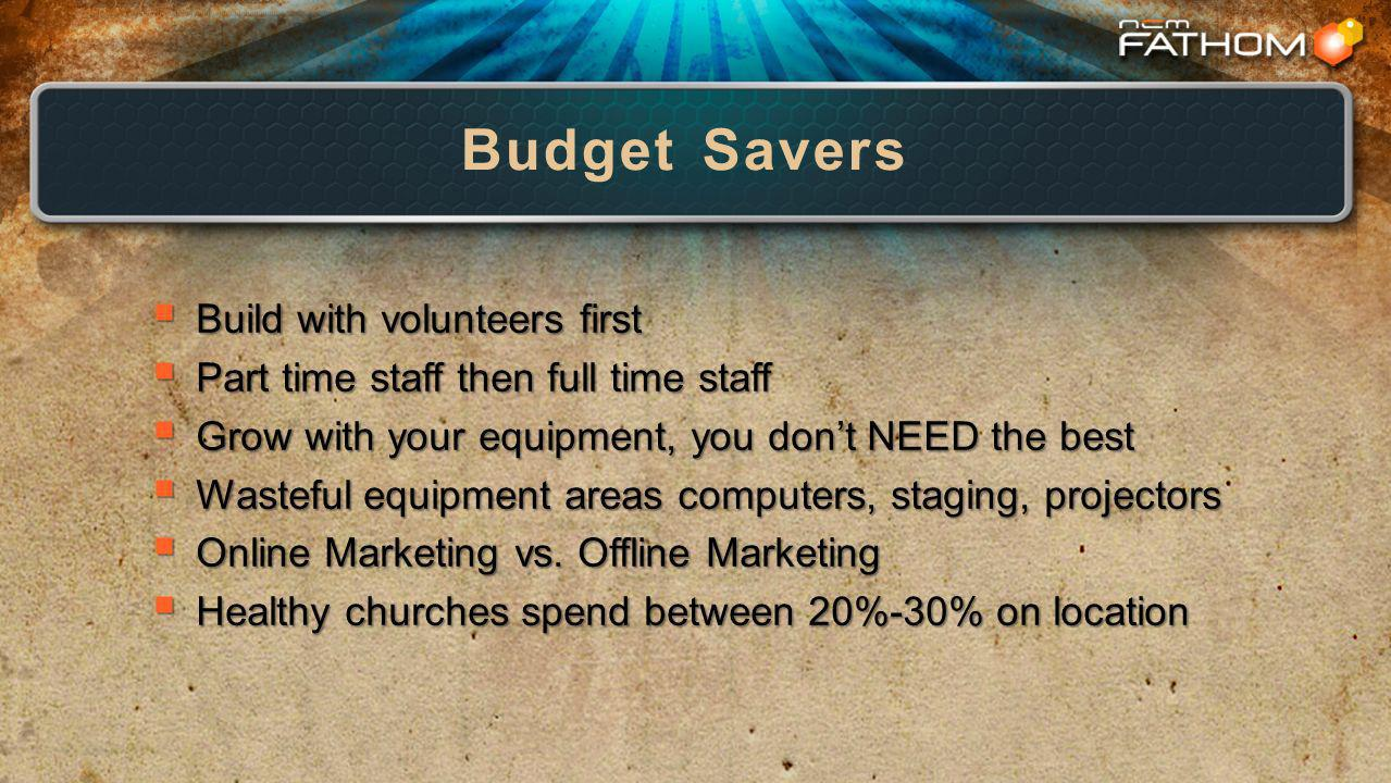 Budget Savers Build with volunteers first Build with volunteers first Part time staff then full time staff Part time staff then full time staff Grow with your equipment, you dont NEED the best Grow with your equipment, you dont NEED the best Wasteful equipment areas computers, staging, projectors Wasteful equipment areas computers, staging, projectors Online Marketing vs.