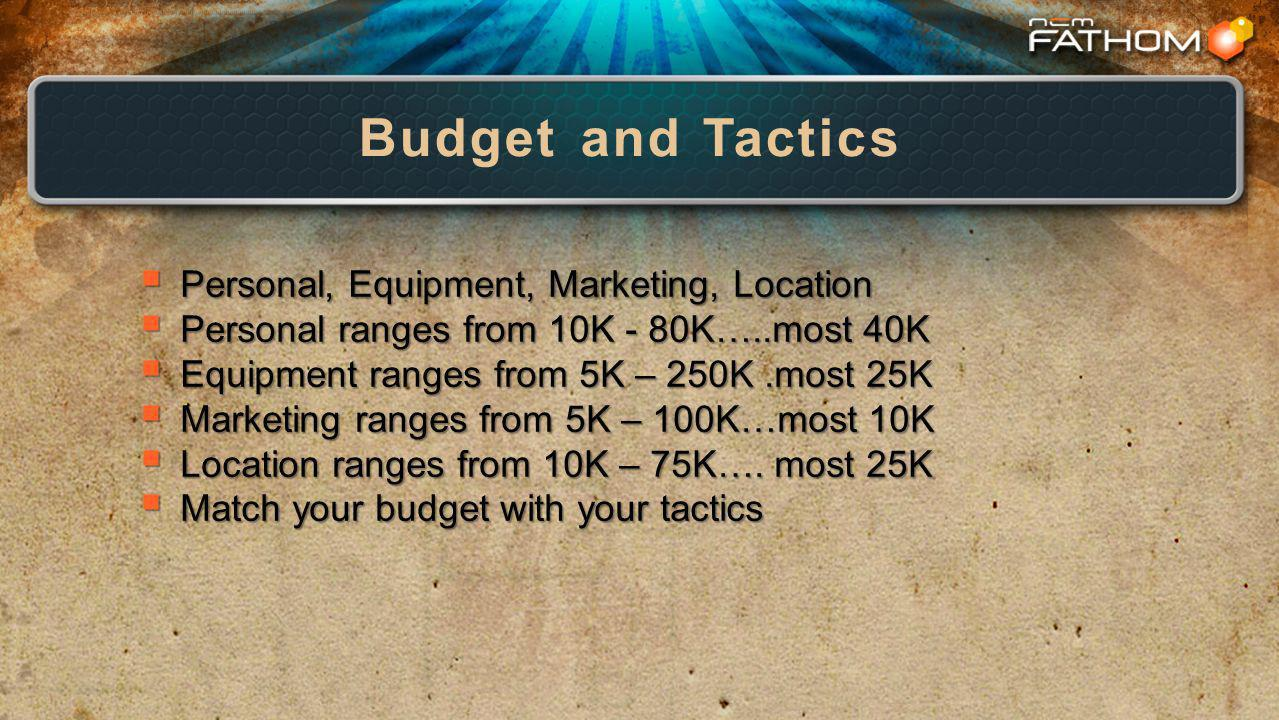 Budget and Tactics Personal, Equipment, Marketing, Location Personal, Equipment, Marketing, Location Personal ranges from 10K - 80K…..most 40K Personal ranges from 10K - 80K…..most 40K Equipment ranges from 5K – 250K.most 25K Equipment ranges from 5K – 250K.most 25K Marketing ranges from 5K – 100K…most 10K Marketing ranges from 5K – 100K…most 10K Location ranges from 10K – 75K….