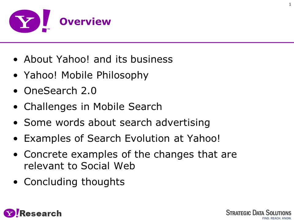 Research 1 Overview About Yahoo.and its business Yahoo.