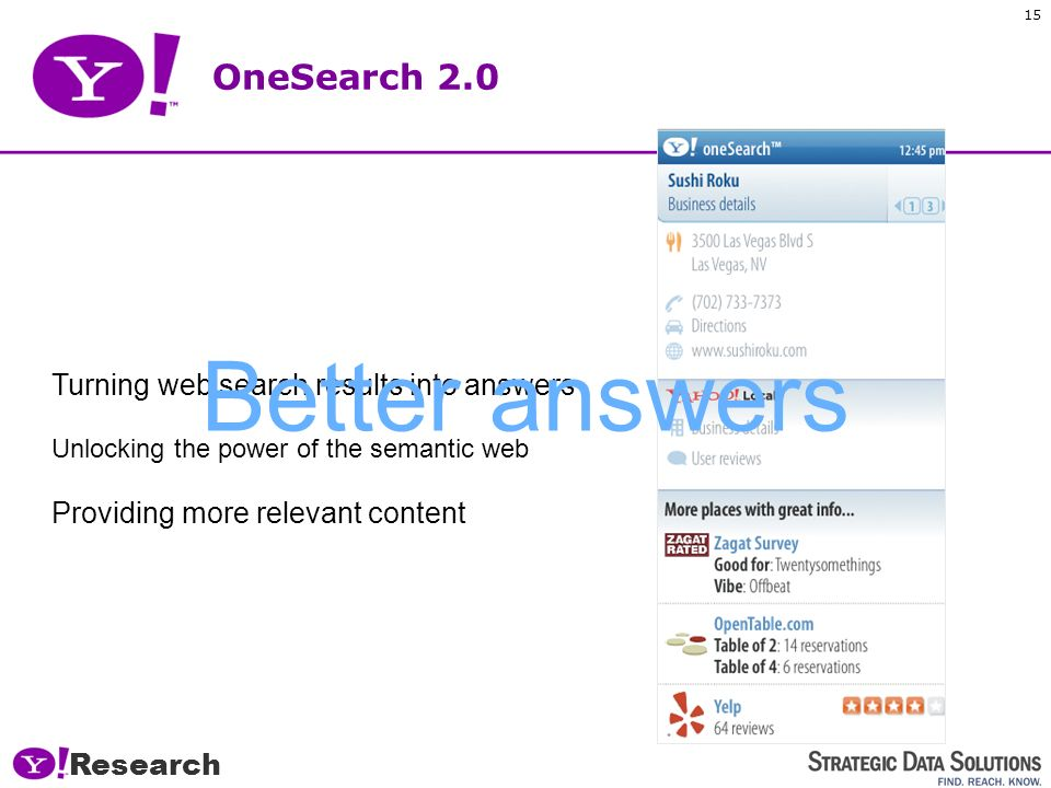Research 14 OneSearch 2.0 OneSearch is being opened up to all publishers and content owners so they can write rich metadata that will be returned as part of results, rather than just a link, –Similar to Yahoos Search Monkey service for the Internet.