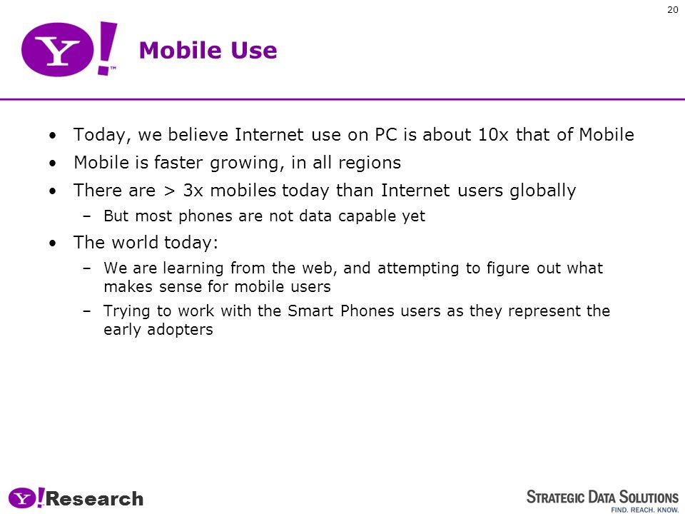 19 Internet Use on Mobile vs. PC Research
