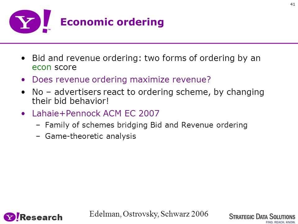 Research 40 2. Order the ads Most generally, composite IR+Econ score … for todays talk, focus on Econ Original GoTo/Overture scheme: –Order by bid