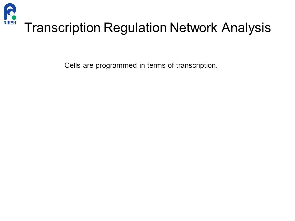 Transcription Regulation Network Analysis Cells are programmed in terms of transcription.