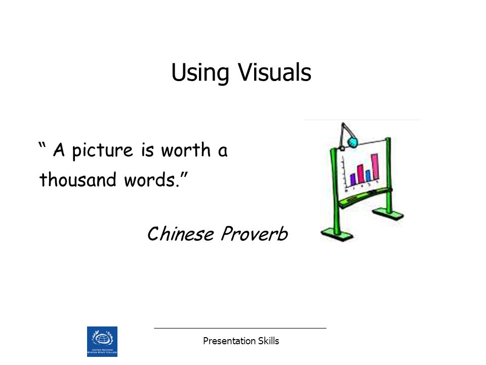 Presentation Skills Using Visuals A picture is worth a thousand words. Chinese Proverb