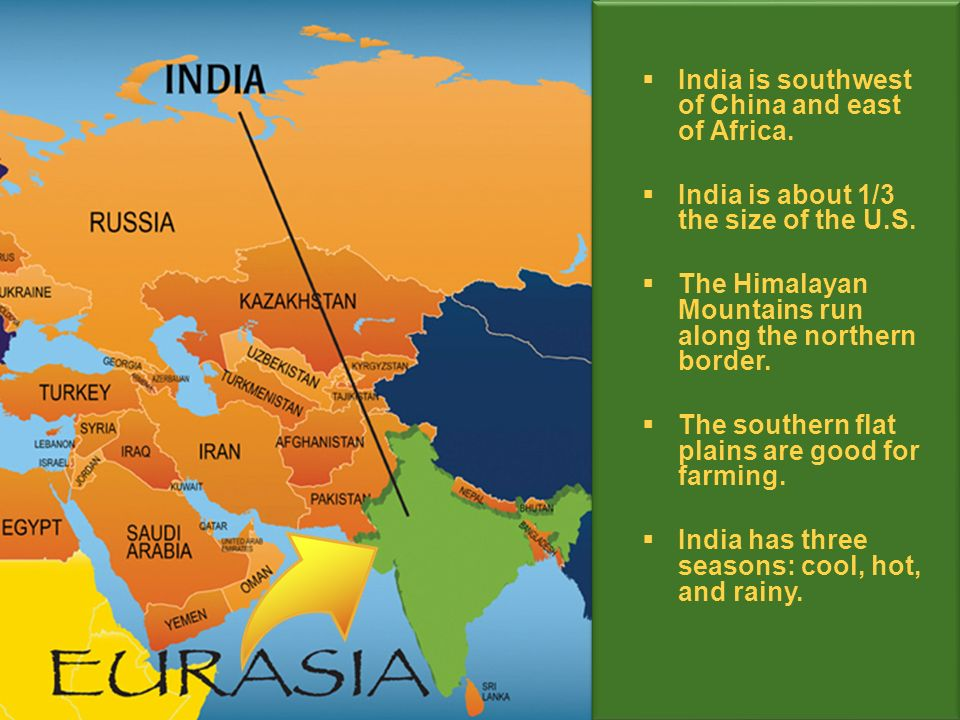 India is southwest of China and east of Africa. India is about 1/3 the size of the U.S.
