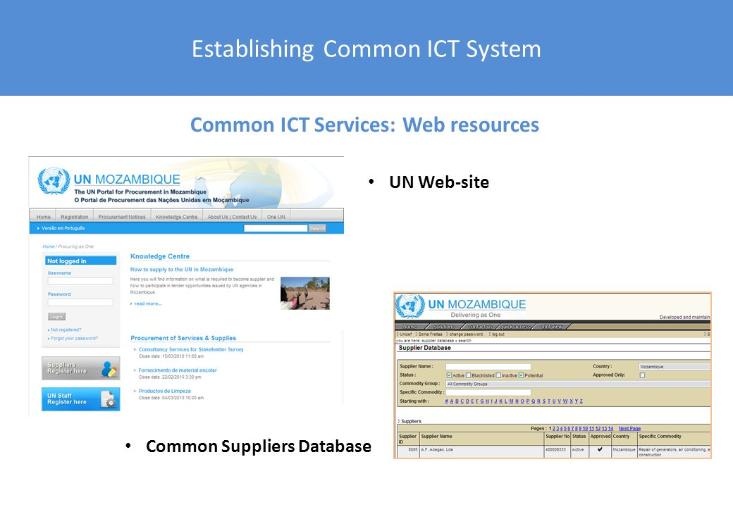 Establishing Common ICT System UN Web-site Common Suppliers Database Common ICT Services: Web resources