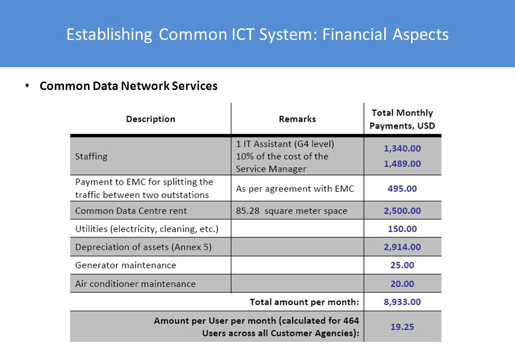 Establishing Common ICT System: Financial Aspects Common Data Network Services