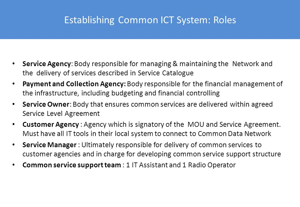 Establishing Common ICT System: Roles Service Agency: Body responsible for managing & maintaining the Network and the delivery of services described i