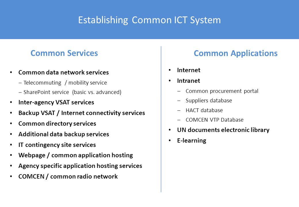 Establishing Common ICT System Common data network services –Telecommuting / mobility service –SharePoint service (basic vs. advanced) Inter-agency VS