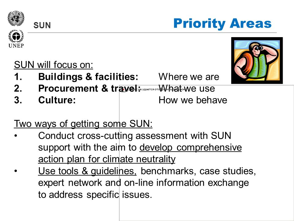 SUN Priority Areas SUN will focus on: 1.Buildings & facilities: Where we are 2.Procurement & travel: What we use 3.Culture: How we behave Two ways of getting some SUN: Conduct cross-cutting assessment with SUN support with the aim to develop comprehensive action plan for climate neutrality Use tools & guidelines, benchmarks, case studies, expert network and on-line information exchange to address specific issues.