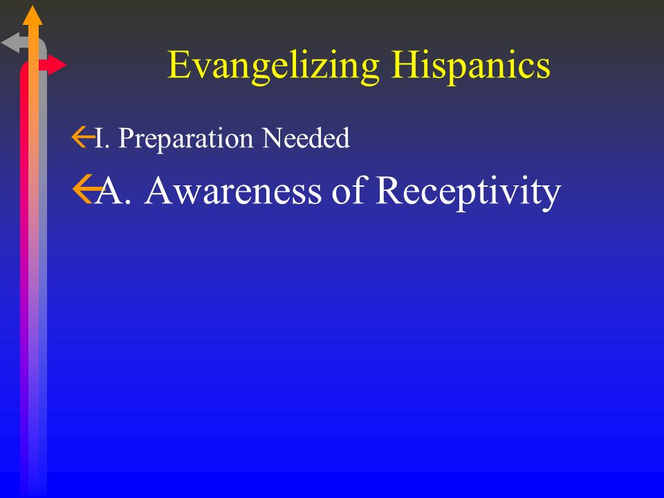Evangelizing Hispanics ßI. Preparation Needed ßA.