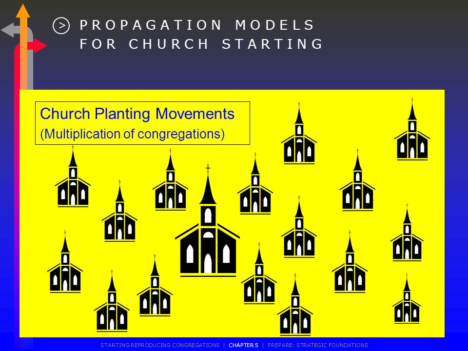 Multi-Congregational Model (One church, several congregations) P A R T N E R I N G M O D E L S F O R C H U R C H S T A R T I N G > STARTING REPRODUCING CONGREGATIONS | CHAPTER 5 | PREPARE: STRATEGIC FOUNDATIONS