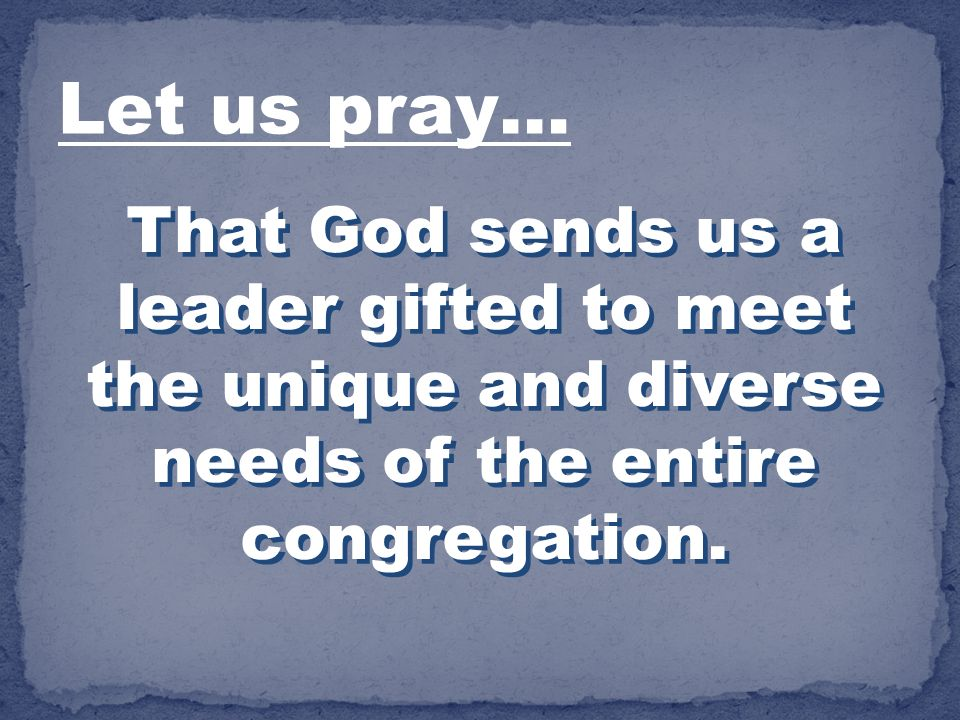 That God sends us a leader gifted to meet the unique and diverse needs of the entire congregation. Let us pray…
