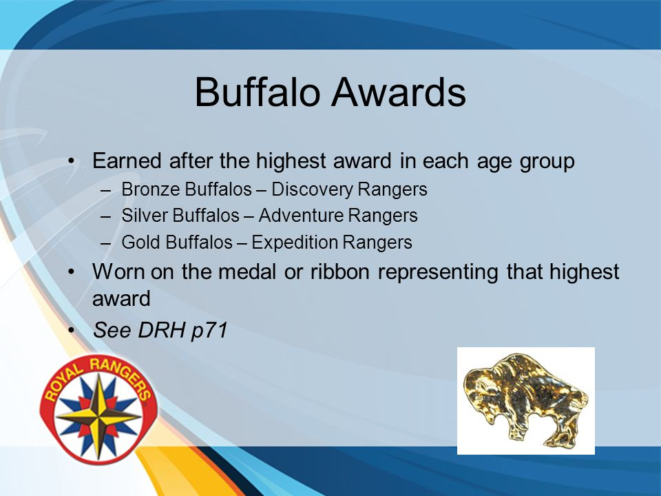 Buffalo Awards Earned after the highest award in each age group –Bronze Buffalos – Discovery Rangers –Silver Buffalos – Adventure Rangers –Gold Buffalos – Expedition Rangers Worn on the medal or ribbon representing that highest award See DRH p71