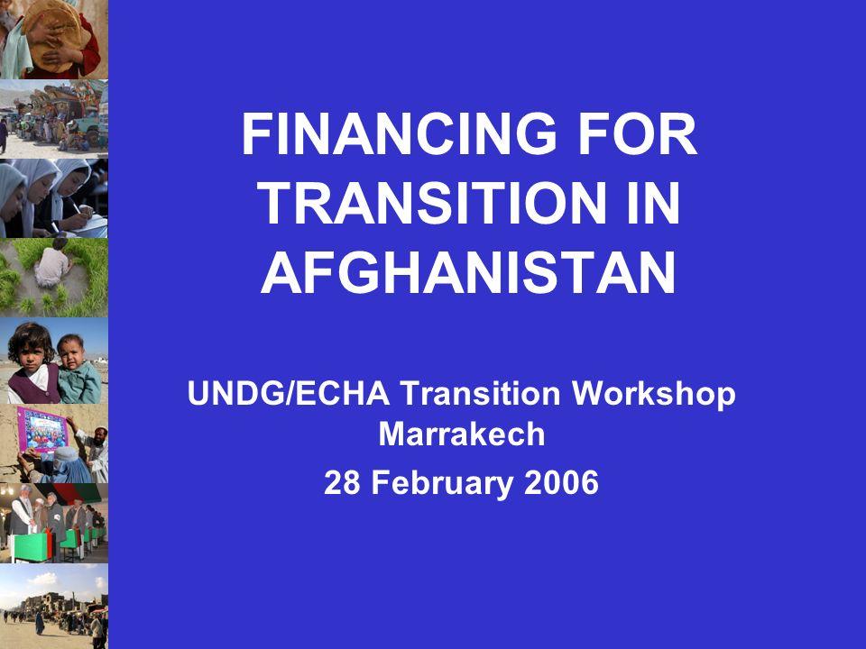 FINANCING FOR TRANSITION IN AFGHANISTAN UNDG/ECHA Transition Workshop Marrakech 28 February 2006
