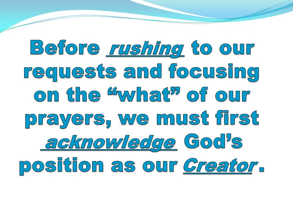 Reflection Question… Why is it so important for us to be able to measure or quantify the results of prayer?