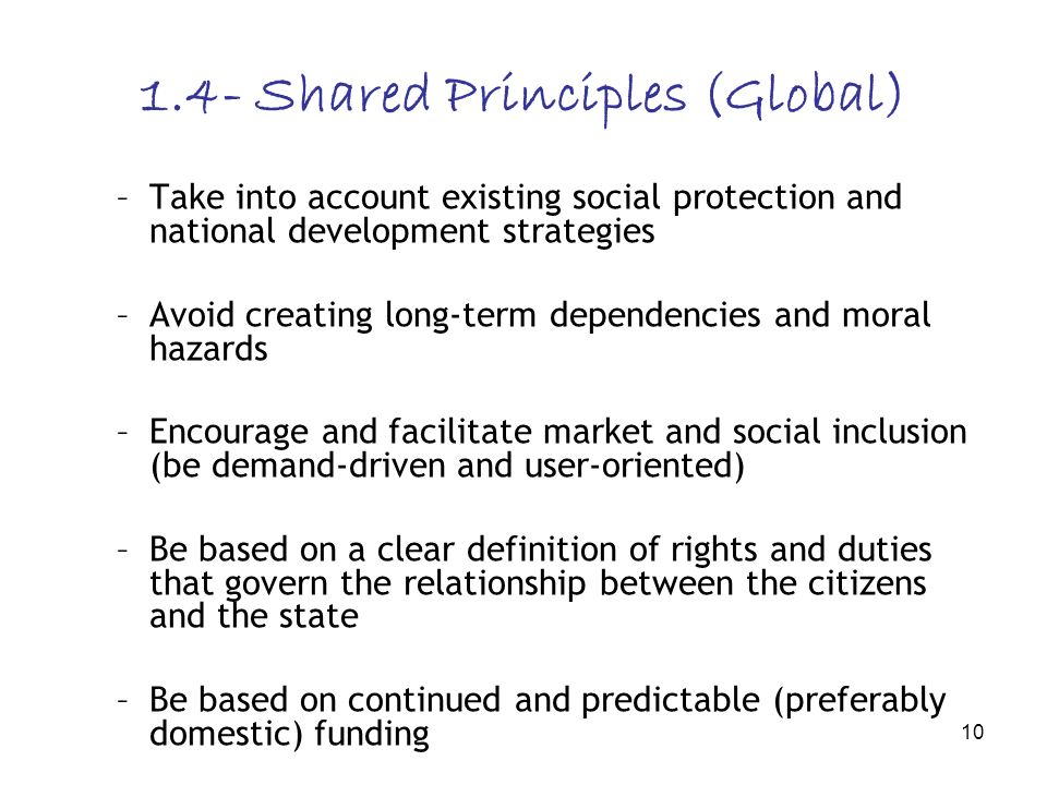 10 1.4- Shared Principles (Global) –Take into account existing social protection and national development strategies –Avoid creating long-term depende