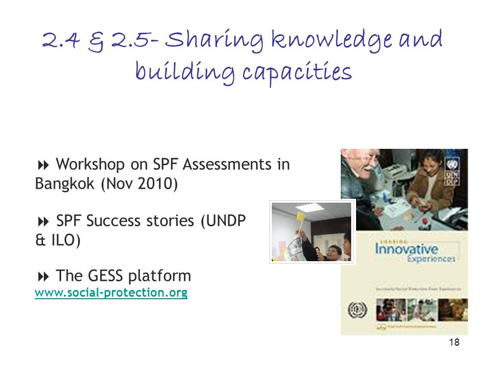 18 2.4 & 2.5- Sharing knowledge and building capacities Workshop on SPF Assessments in Bangkok (Nov 2010) SPF Success stories (UNDP & ILO) The GESS pl