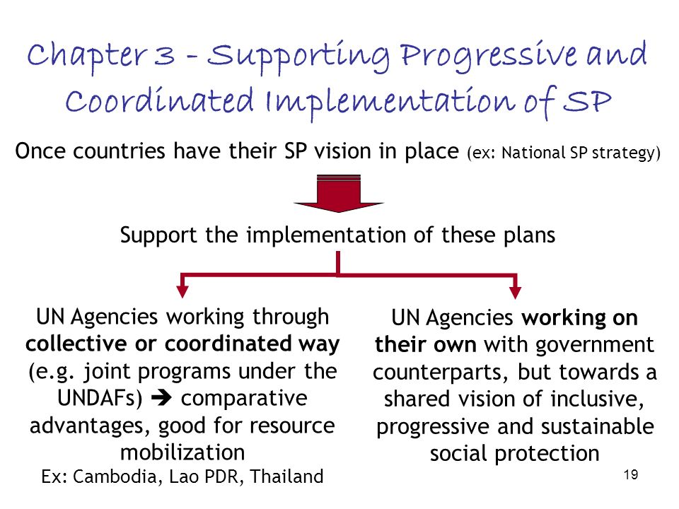 19 Chapter 3 - Supporting Progressive and Coordinated Implementation of SP Once countries have their SP vision in place (ex: National SP strategy) Support the implementation of these plans UN Agencies working through collective or coordinated way (e.g.