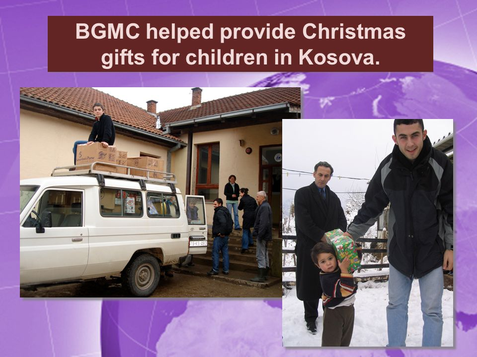 BGMC helped provide Christmas gifts for children in Kosova.