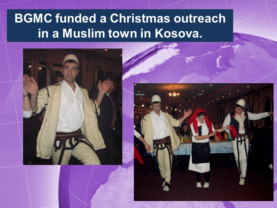BGMC funded a Christmas outreach in a Muslim town in Kosova.