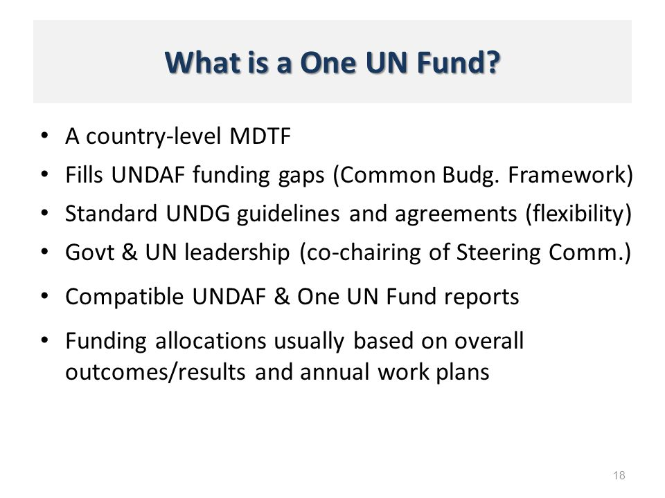 What is a One UN Fund? A country-level MDTF 18 Fills UNDAF funding gaps (Common Budg. Framework) Standard UNDG guidelines and agreements (flexibility)