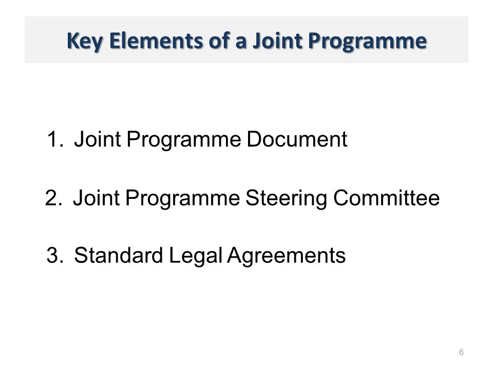 Key Elements of a Joint Programme 1.Joint Programme Document 6 2.Joint Programme Steering Committee 3.Standard Legal Agreements