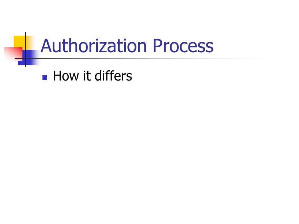 Authorization Process How it differs
