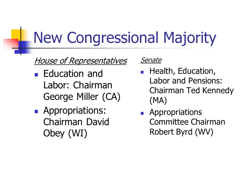 New Congressional Majority House of Representatives Education and Labor: Chairman George Miller (CA) Appropriations: Chairman David Obey (WI) Senate Health, Education, Labor and Pensions: Chairman Ted Kennedy (MA) Appropriations Committee Chairman Robert Byrd (WV)