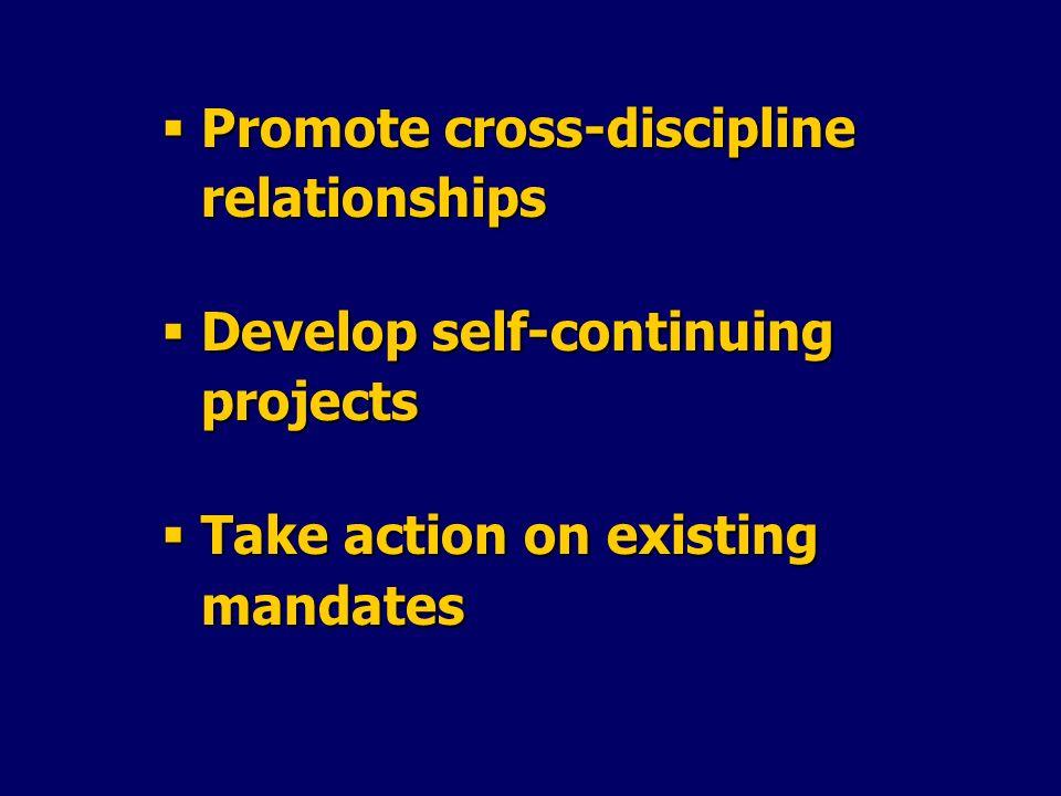 Promote cross-discipline relationships Promote cross-discipline relationships Develop self-continuing projects Develop self-continuing projects Take a